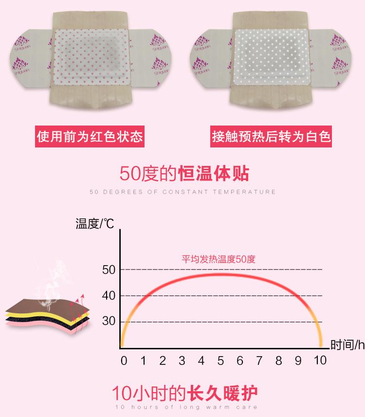 正品泰国Shiguan暖宫贴(5贴/盒)益母草艾草宫寒驱寒艾灸发热贴痛经贴