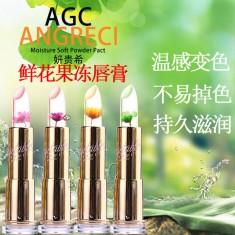 正品韩国AGC妍贵希鲜花温变果冻口红唇膏3.8g不易掉色不沾杯变色唇膏